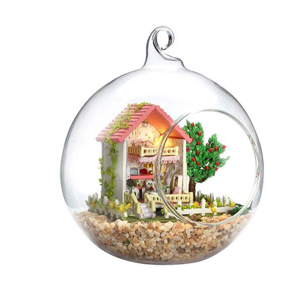 DIY Кукольный дом с мебелью стеклянный шар микро пейзаж ремесло орнамент ручной работы подарок игрушки мини-сладкий мысль и желание G007 #E