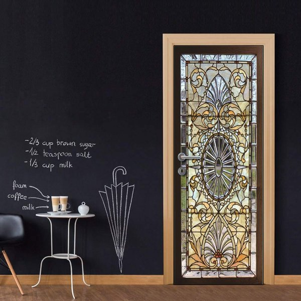 Custom Whole Sheet Pattern Glass Gate Door Wallpaper Stickers for Home Decoration Vinyl Removable Wall Mural 3D Decals