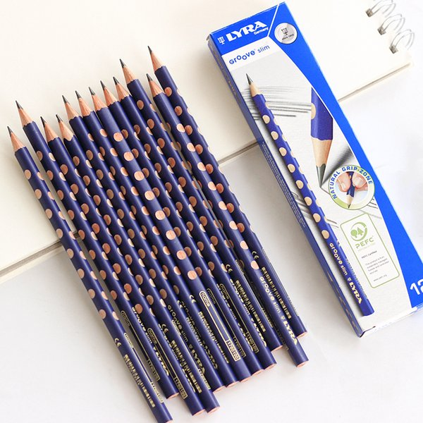 12PCS Germany LYRA 1760100 Pencil Hole Corrective Grip Pencil HB 2B 2H Triangle Rod Kids