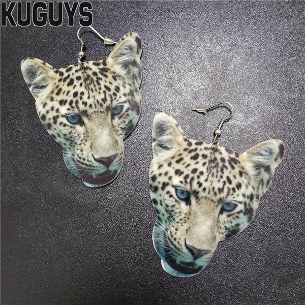 KUGUYS Printing Leopard Head Large Earrings for Womens Acrylic Animal Drop Earring Fashion Jewelry Oorbellen Brincos Accessories