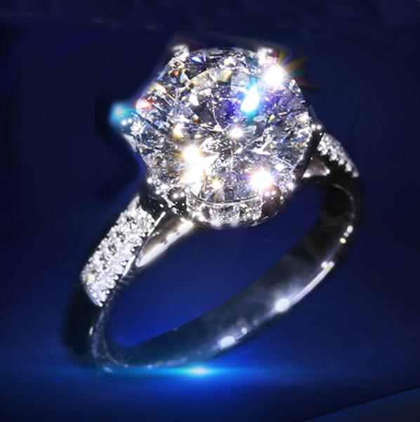 Brand Designer Luxus Ring 14K Weißgold eingelegten Diamantring High-End Zähler Simulation Zirkon Braut Ring Geburtstagsgeschenk Brosche