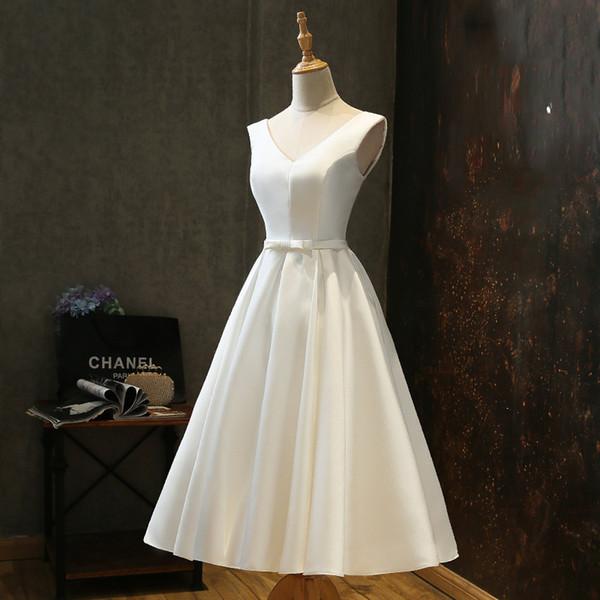 2019 fotos reales de satén blanco hasta la rodilla vestidos de novia de playa vestidos de novia sencillos con cuello en v vestidos de novia de talla grande personalizados