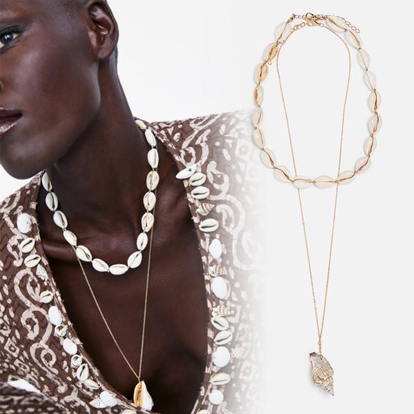 Vedawas Conch Collar Colgante Mujeres Shell Beads Cadena Gargantilla Collar 2 UNIDS Conjuntos Declaración Joyería del partido xg2810