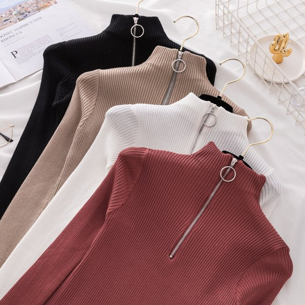 Reißverschluss Rollkragenpullover Korean Womens Pullover Winter Tops Für Frauen Pullover Herbst Jumper Strickpullover Pull Femme
