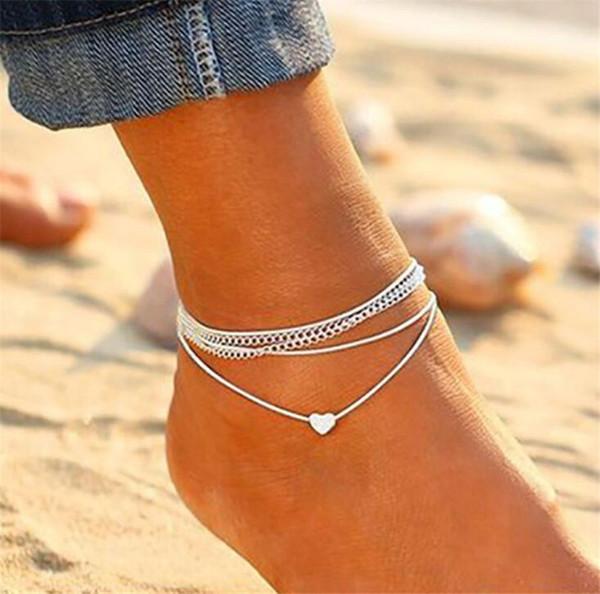 Moda Pequeño Corazón Colgante Tobilleras Pulsera Joyas para los pies Sandalias descalzas Accesorios de playa Tobilleras de moda europeas y americanas