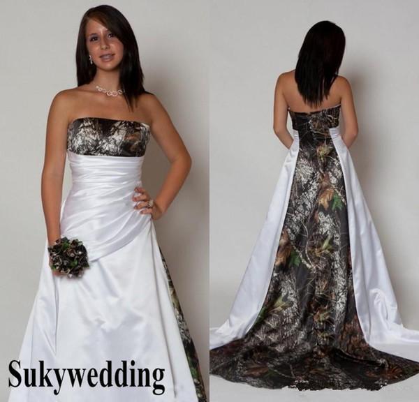 2019 País Camo Vestidos de Noiva com Plissado Império Cintura A linha Varrer Trem Camuflagem Vestidos de Casamento Custom Made Strapless Vestidos de Noiva