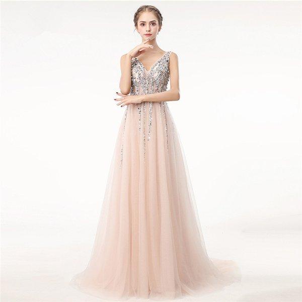 Compre Elegantes Vestidos Formales De Noche 2018 Chmapgne Tul Vestidos De Baile Largos Hasta El Suelo Con Cuello En V Fiesta Fiesta Batas De