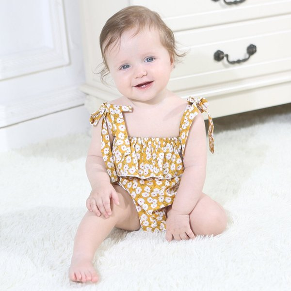 Flower Girls Rompers Outfits Blue Pink Yellow Newborn Baby Bodysuits One Piece Floral Belt Blackless Baby Girls Bodysuits Infant