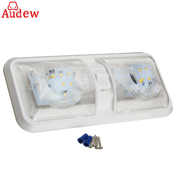 Envío gratuito 1 Unids Coche LED Techo Interior Techo Luz de Domo 12 V 48LED Lámpara de Lectura Para RV Barco Para Remolque de Camper De Plástico Blanco