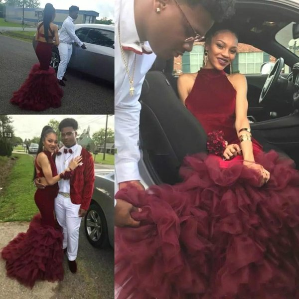 Sexy Burgundy Ruffle Organza Mermaid Prom Dresses Backless 2019 Black Girl African Plus Size Party Gowns Vestido de fiesta Evening Formal