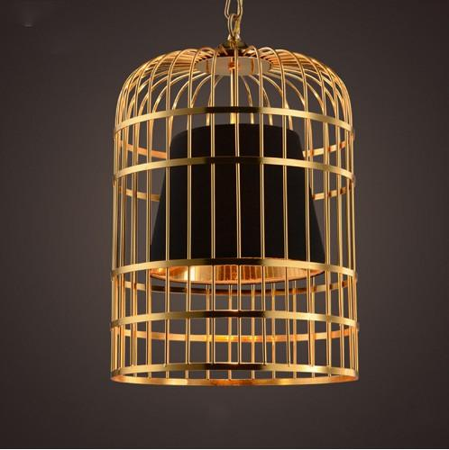 Moderno Placa de Led Chrome Birdcage Gold Led Colgante Light Bar Restaurante PVC Shades E27 Deco Vintage Cadena Colgante Lámpara LLFA