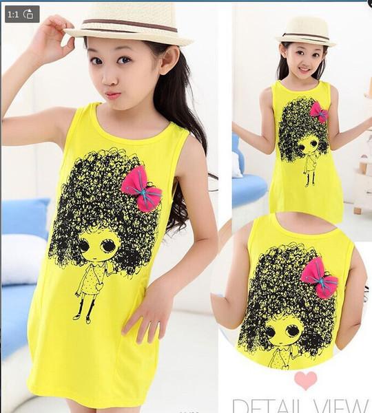 Sommerkindkleidmädchenkleid scherzt explosive Kopfkleiderhülse weniger Kleidermädchenbaumwollkleidung 4 Farben