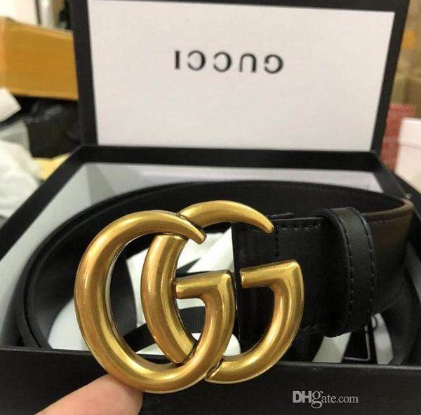 Cintura di cuoio delle donne degli uomini di alta qualità di modo di lusso 2019 Larghezza della fibbia della perla dell'oro: 2.0 3.4 3.8CM Trasporto libero + scatola bianca