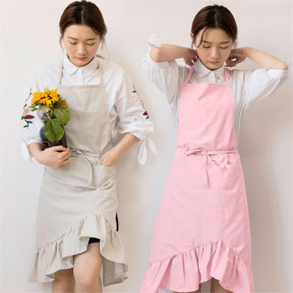 simple japanese cotton and linen pleated butterfly tail apron household bib women housework kitchen wrapped apron