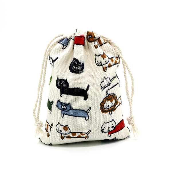 """50pcs 15x20cm (5.9""""x7.8"""")Nature Cotton Gift Bags Cartoon Cats Style for Jewelry Packing bags Christmas Candy Pouches New Bag"""