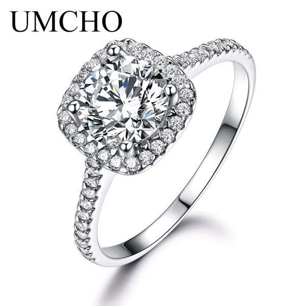 Umcho Silver 925 Jewelry Luxury Bridal Round Cubic Zircon Rings For Women Solitaire Engagement Wedding Party Gift Fine Jewelry