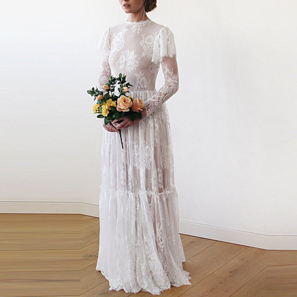 Vintage Country Wedding Dresses Bridal Gown 2019 Lace Illusion Long Sleeves Pleated Floor Length Cheap Designer Wedding Gowns