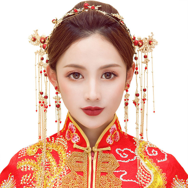 A set Chinese traditional national red women marriage fashion vintage headdress hair jewelry bride wedding hairpin band flower festival gift