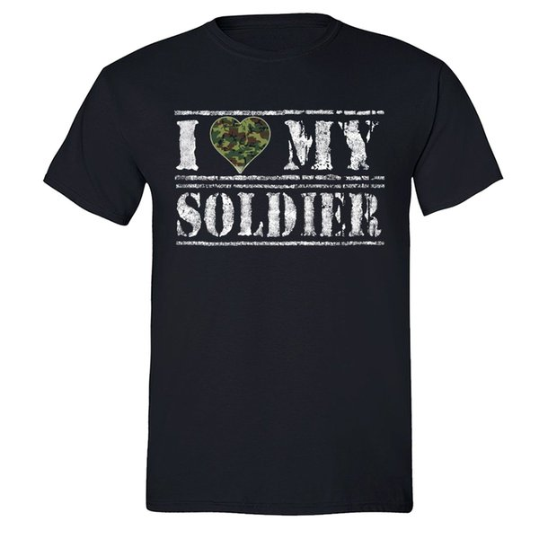 I love my soldier T-shirt American Military shirt USA Army Camo hunt tshirt Blk Hipster O-Neck Cool Tops Hip Hop Short Sleeve