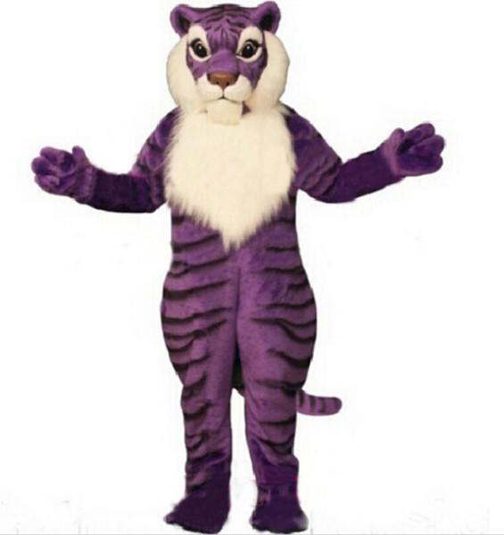 Professionelle Benutzerdefinierte Anime Kostüme Lila Tiger Maskottchen Kostüm Großhandel Cartoon Wild Cat Theme Karneval Kostüm