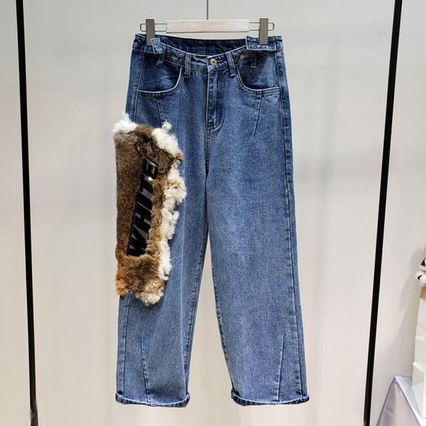 Nova Moda Patchwork De Pele Carta Impressão Ajustar Calças de Cintura Calças de Personalidade Feminina Projeto Calças Perna Larga