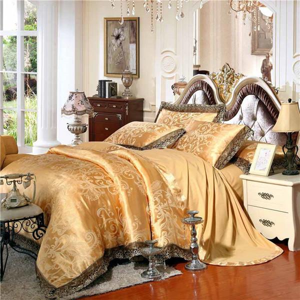 Gold/White/Blue Jacquard Silk Bedding Set Luxury 4/6pcs Satin Bed Duvet Cover King Queen Bedclothes Linen Sets 29 Design