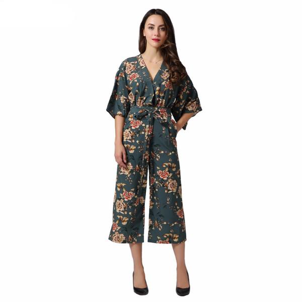 Vintage Floral V Cou Combinaisons Pantalon Large Jambières Ceintures Dos Nu Plissée Mode Barboteuses Playsuits Casual