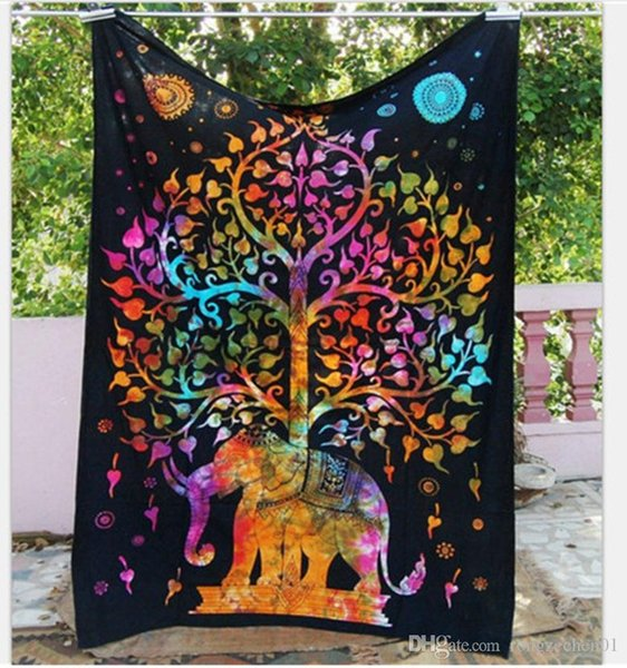 New 130*150cm Bohemian Mandala Beach Tapestry Hippie Throw Yoga Mat Towel Indian Polyester Beach Shawl Bath Towel