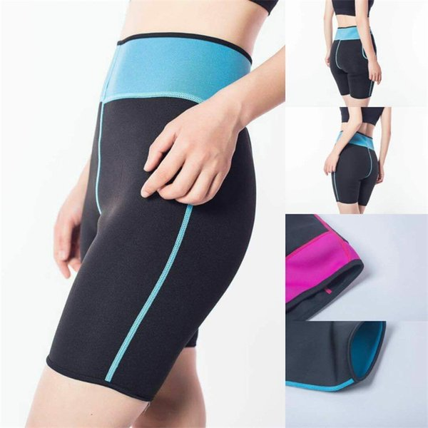 Pantalon de course en plein air pour femmes Pantalons serrés Shorts d'été Support de taille en sueur en caoutchouc Force élastique Force Bleu Rouge 13yh C1