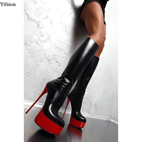Rontic New Arrival Women Platform Mid-calf Boots Thin High Heels Black Red Ladies Round Toe Nice Party Shoes Women US Size 5-15