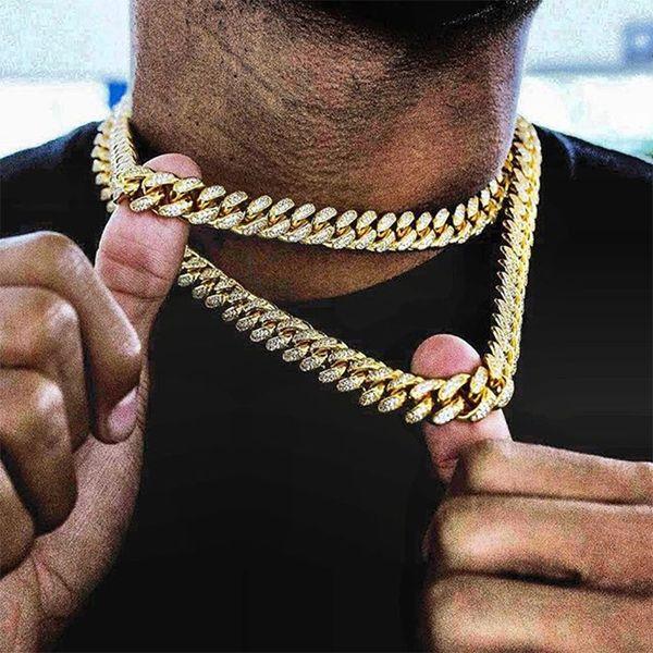 Collar de cadena estéreo micro circón de cierre onda de agua de 17 mm Rhinestone collar de Hip Hop de la roca Hombres Cuba de oro grande plateada