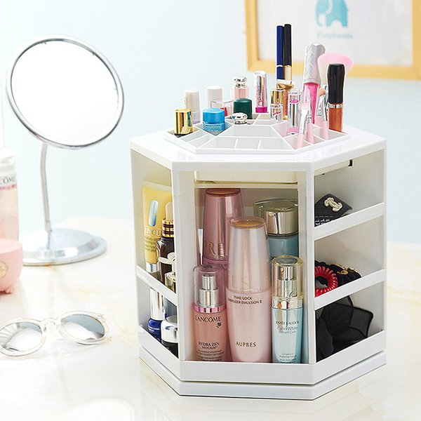 Hoomall 360 Degree Rotating Plastic Storage Box Case Organizer For Cosmetic Makeup Stand Holder Storage Box For Jewelry 32x27cm