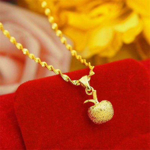 Japanese and Korean fashion ladies apple pendant copper plated necklace Christmas Eve gift