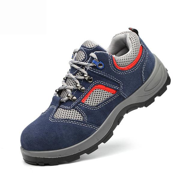 Großhandel 2019 Männer Arbeit Sicherheitsschuhe Stahlkappe Atmungsaktiv Rutschfeste Männer Schuhe Turnschuhe Anti Punkte Anti Smashing