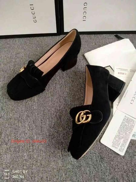 Nuovo modello di colore di corrispondenza in pelle ricamo puntato bocca poco profonda comode singole scarpe da donna tacco grosso tacchi alti 09171