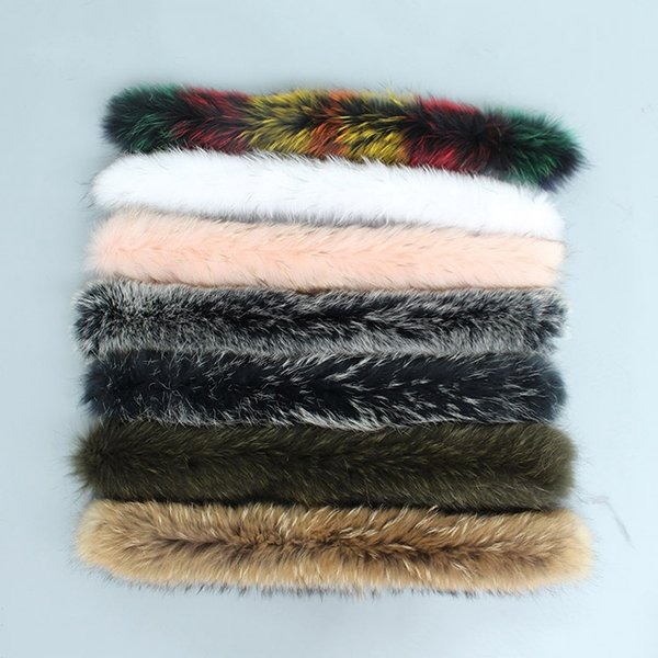 colors natural real raccoon fur hoody trim collar for parkas and winter coat jackets hooded genuine fur collar scarves femme