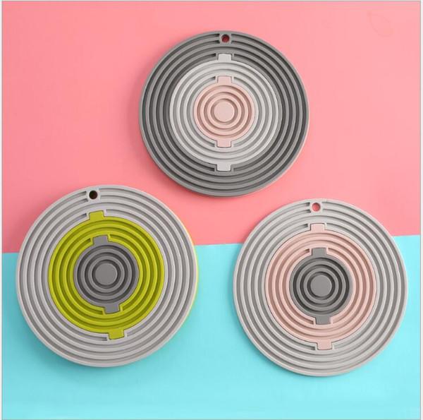3 In 1 Silikonmatte Hitzebeständige Tasse Topflappen Rutschfeste Schüssel Platte Tasse Coaster Wasserdichte Matten Tischdekoration Matten 12 Farben