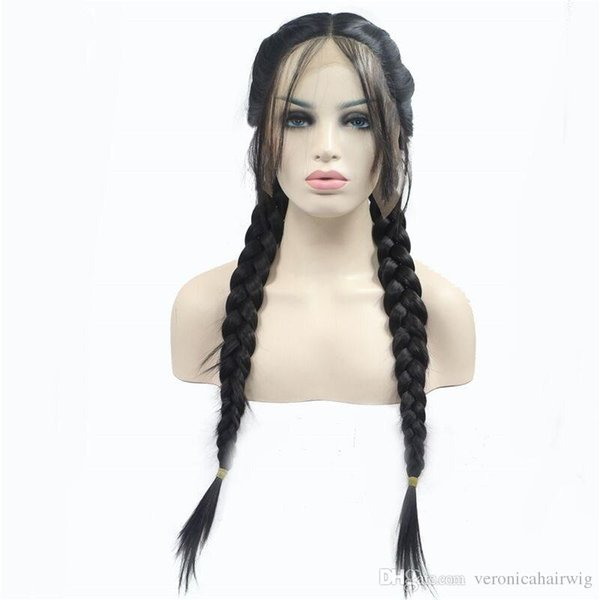 Top Quality Natural 1B Black 2x Twist Braided Wigs with Baby Hair High Temperature Long Synthetic Hair Lace Front Wigs 2# Black Brown