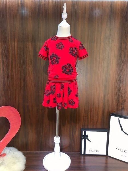 Роскошный двухкусочный Эпикировка костюм Корейские девушки юбка девушки детей младенца Детская одежда Набор с коротким рукавом Одежда Детские платья 092008