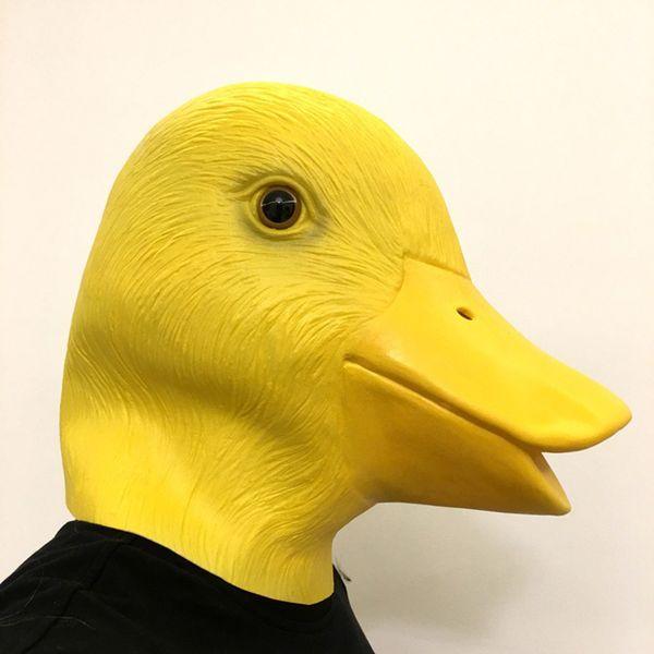 Gelbe Ente Maske Neuheit Niedlichen Tier Maske Latex Haube Halloween Maskerade Fancy Party Cosplay Kostüm Kleid Tanz Requisiten