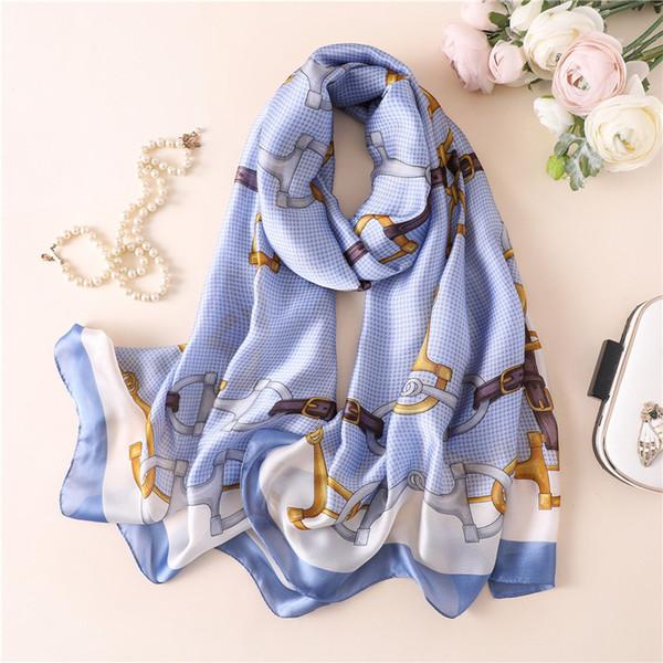 2019 New Silk Scarf Women Metal Belt Fashion Printing Foulard Female Shawls&Wraps Beach Towel Soft Long Scarves Kerchief 180*90cm
