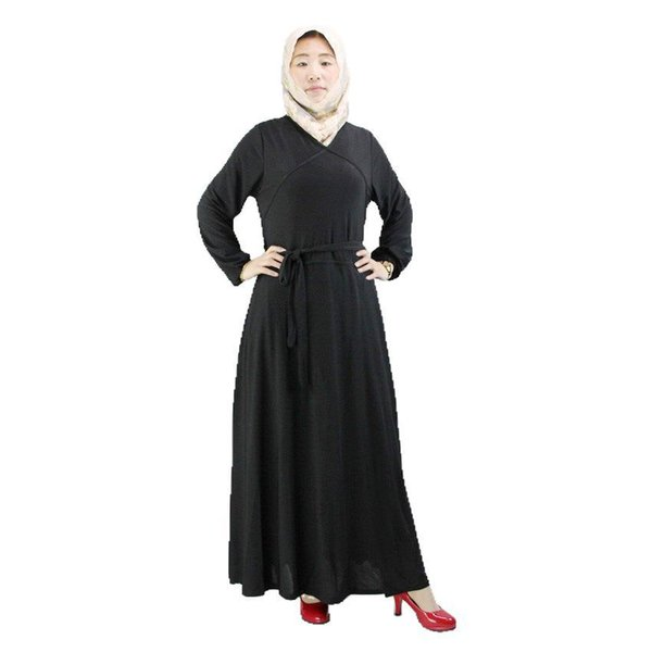 long sleeve dress girdle skirt slim muslim young women's dress