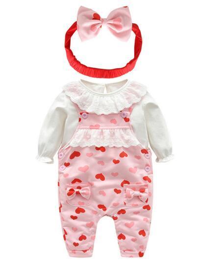 Bebé niña Niños Conjuntos de 3 piezas Ropa Bebé Primavera cuello redondo  Camisa de manga larga dead8325df3