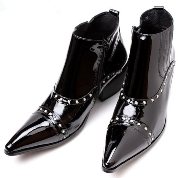 Italian Luxury Pluse Size High Heels Patent Genuine Leather Western Cowboy Boots Studded Black Boots Dress Shoes Mens