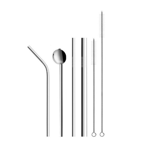 6pcs/set Reusable Drinking Straw Stainless Steel Coffee Tea Straw Set High Quality With Cleaning Brush Spoon For Mugs
