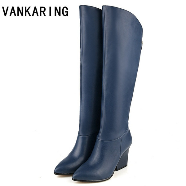 VANKARING Women's winter shoes genuine leather+PU autumn winter boots brand women black blue shoes high quality knee high boots