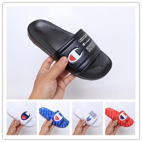 Yeni Tasarımcı Ayakkabı Şampiyonlar Çevirme Moda Terlik Erkek Kadın Yaz Plaj Terlik Rahat Sandalet Yüksek Kalite Scuffs Ayakkabı Boyutu 36-45