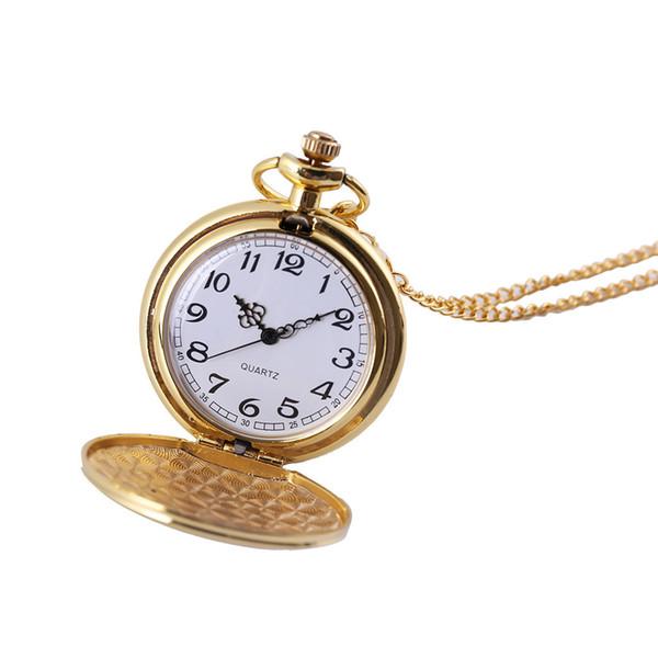 2019 Classic Large Two-Faced Gold Mode Taschenuhr Court Style Taschenuhr Mann Frau Halskette Uhr Schmuck Geschenk Q527