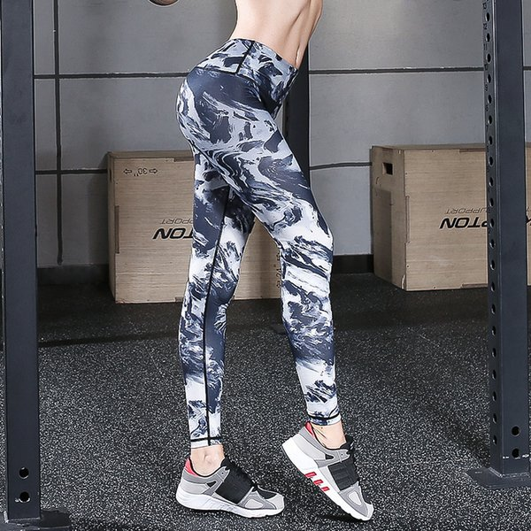 Womens Compression Sports Yoga Pants High Waisted Workout Leggings Running Riding Fitness Dance Tights Print Elastic Skinny Pants Sweatpants