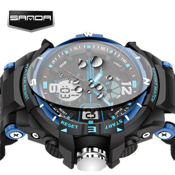 Sanda G Waterproof Alarm Mens Watches Top Brand Luxury S-shock Digital Led Sports Watch Men Clock Wristwatch Relogio Masculino C19041001